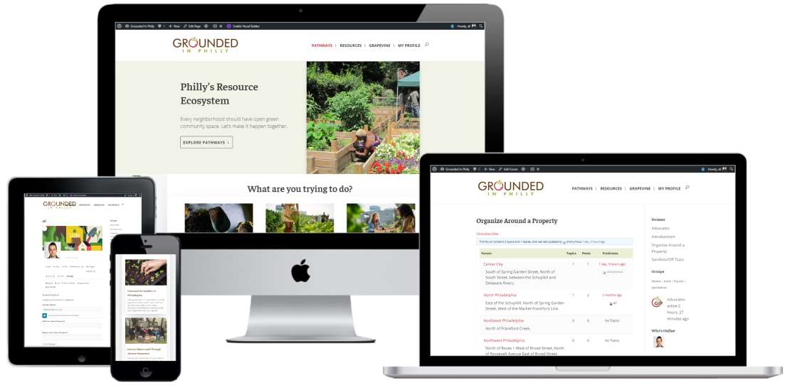 Community-based mobile-first web design, brand development and website for Grounded in Philly