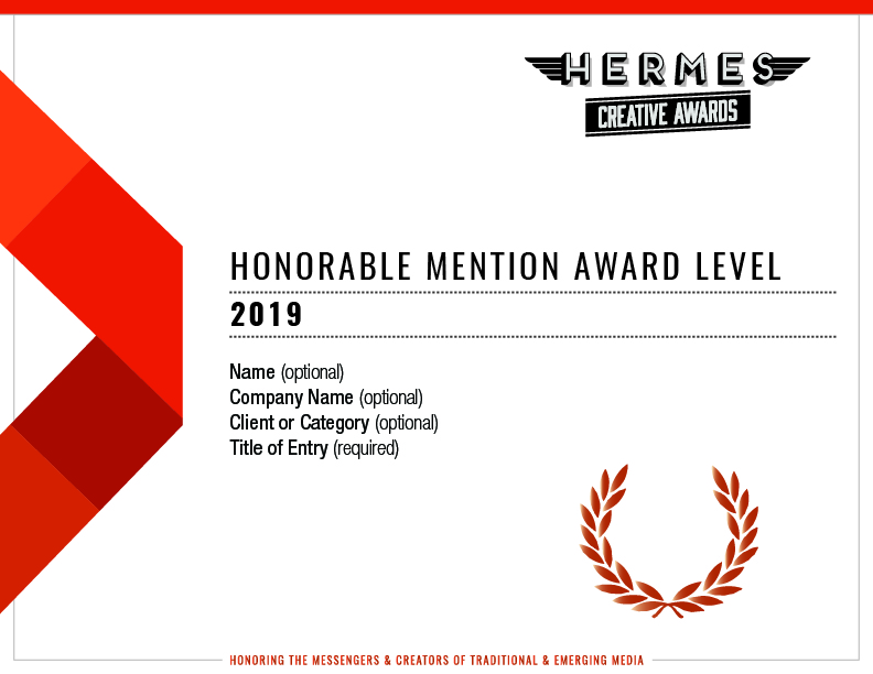 2019 Honorable Mention in the Hermes Creative Awards for Business-to-Consumer Websites